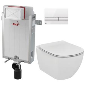ALCAPLAST Renovmodul předstěnový instalační systém s bílým tlačítkem M1710 + WC Ideal Standard Tesi se sedátkem AM115/1000 M1710 TE3