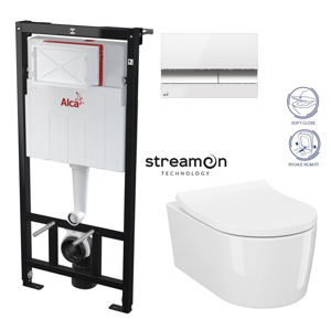 AKCE/SET/ALCAPLAST SET Sádromodul předstěnový instalační systém s bílým/ chrom tlačítkem M1720-1 + WC INVERTO se systémem STREAM ON + SEDATKO SLIM SOFT CLOSE AM101/1120 M1720-1 IN1