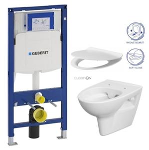 AKCE/SET/GEBERIT SET Duofix pro závěsné WC 111.300.00.5 bez ovládací desky + WC CERSANIT PARVA NEW CLEANON + Sedátko 111.300.00.5 PA2