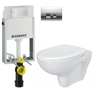 GEBERIT SET KOMBIFIXBasic včetně ovládacího tlačítka DELTA 50 CR pro závěsné WC CERSANIT PRESIDENT + SEDÁTKO 110.100.00.1 50CR PR1