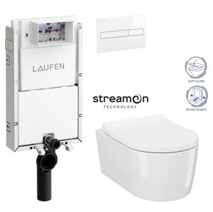 AKCE/SET/LAUFEN Podomít. systém LIS TW1 SET s bílým ovládacím tlačítkem + WC INVERTO se systémem STREAM ON + SEDATKO SLIM SOFT CLOSE H8946630000001BI IN1