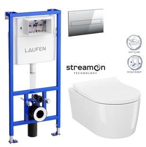 AKCE/SET/LAUFEN Rámový podomítkový modul CW1 SET s chromovým ovládacím tlačítkem + WC INVERTO se systémem STREAM ON + SEDATKO SLIM SOFT CLOSE H8946600000001CR IN1