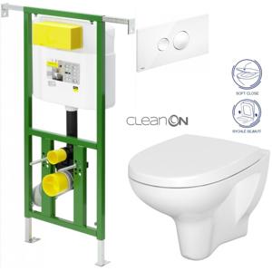AKCE/SET/VIEGA Eko PLUS modul do jádra WC čelní ovládání SET BÍLÉ + ovládací tlačítko BÍLÉ + WC CERSANIT ARTECO CLEAN ON + SEDÁTKO V622176BI AT1