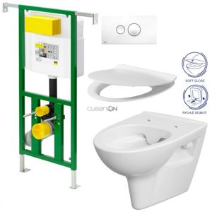 AKCE/SET/VIEGA Eko PLUS modul do jádra WC čelní ovládání SET + ovládací tlačítko BÍLÉ + WC CERSANIT PARVA CLEANON + SEDÁTKO V622176BI PA2