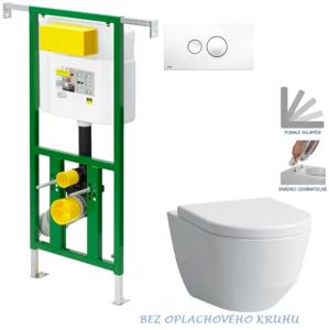 AKCE/SET/VIEGA Eko PLUS modul do jádra WC čelní ovládání SET + ovládací tlačítko BÍLÉ + WC LAUFEN PRO RIMLESS + SEDÁTKO V622176BI LP1