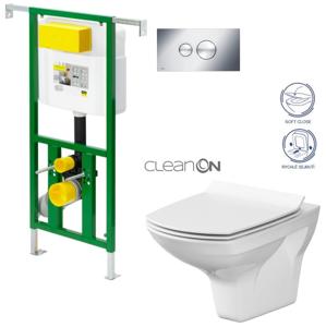 AKCE/SET/VIEGA Eko PLUS modul do jádra WC čelní ovládání SET + ovládací tlačítko CHROM + WC CERSANIT CARINA CLEANON + SEDÁTKO V622176CR CA3