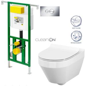 AKCE/SET/VIEGA Eko PLUS modul do jádra WC čelní ovládání SET CHROM + ovládací tlačítko CHROM + WC CERSANIT CREA OVÁL CLEANON + SEDÁTKO V622176CR CR1