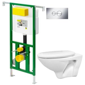 AKCE/SET/VIEGA Eko PLUS modul do jádra WC čelní ovládání SET CHROM + ovládací tlačítko CHROM + WC CERSANIT MITO + SEDÁTKO V622176CR MI1