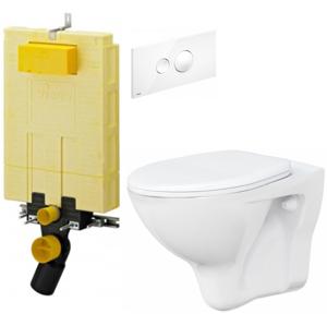 AKCE/SET/VIEGA MONO modul WC čelní ovládání + ovládací tlačítko BÍLÉ + WC ARES + SEDÁTKO V606732BI AR1