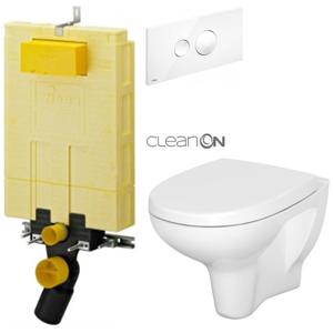 AKCE/SET/VIEGA MONO modul WC čelní ovládání + ovládací tlačítko BÍLÉ + WC CERSANIT ARTECO CLEAN ON + SEDÁTKO V606732BI AT2
