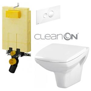 AKCE/SET/VIEGA SET MONO modul WC čelní ovládání + ovládací tlačítko BÍLÉ + WC CERSANIT CARINA CLEANON + SEDÁTKO V606732BI CA1