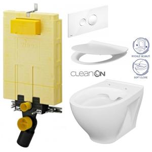 AKCE/SET/VIEGA MONO modul WC čelní ovládání + ovládací tlačítko BÍLÉ + WC CERSANIT MODUO CLENON + SEDÁTKO V606732BI MO1