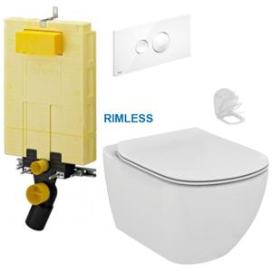 AKCE/SET/VIEGA MONO modul WC čelní ovládání + ovládací tlačítko BÍLÉ + WC TESI RIMLESS V606732BI TE2