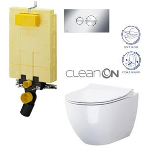 AKCE/SET/VIEGA MONO modul WC čelní ovládání + ovládací tlačítko CHROM + WC OPOCZNO URBAN HARMONY CLEANON + SEDÁTKO V606732CR HA1