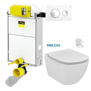 AKCE/SET/VIEGA Presvista modul PURE pro WC včetně tlačítka Style 20 bílá + WC TESI RIMLESS V771928 STYLE20BI TE2