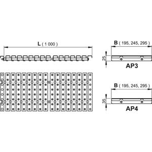 ALCAPLAST AP3- Přelivový rošt s protiskluzem, výška 25mm, šířka, 295mm, délka 1000mm AP3-295/1000 AP3-295