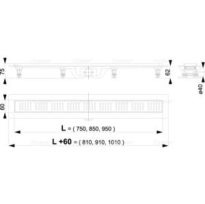 Alcaplast APZ10-550M plastový žlab s roštem kout min. 600mm Simple APZ10-550M