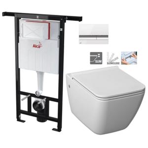 ALCAPLAST Jádromodul předstěnový instalační systém s bílým/ chrom tlačítkem M1720-1 + WC JIKA PURE + SEDÁTKO SLOWCLOSE AM102/1120 M1720-1 PU2