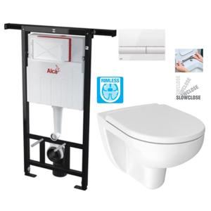 ALCAPLAST Jádromodul předstěnový instalační systém s bílým tlačítkem M1710 + WC JIKA LYRA PLUS RIMLESS + SEDÁTKO DURAPLAST SLOWCLOSE AM102/1120 M1710 LY2