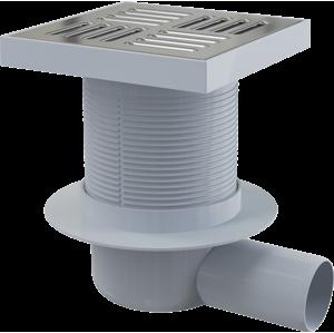 Alcaplast Podlahová vpust 150 × 150/50 boční, mřížka nerez, vodní zápachová uzávěra APV5411 APV5411