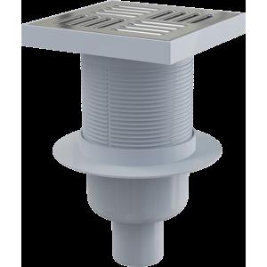 Alcaplast Podlahová vpust 150 × 150/50 přímá, mřížka nerez, vodní zápachová uzávěra APV6411 APV6411