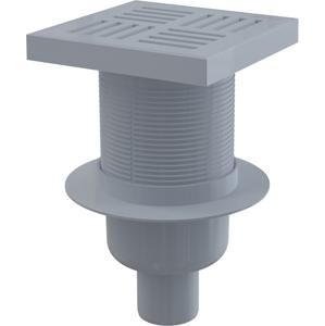 ALCAPLAST Podlahová vpust 150 × 150/50 přímá, mřížka šedá, vodní zápachová uzávěra APV6211 APV6211