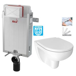 ALCAPLAST Renovmodul předstěnový instalační systém bez tlačítka + WC JIKA LYRA PLUS RIMLESS + SEDÁTKO DURAPLAST SLOWCLOSE AM115/1000 X LY2