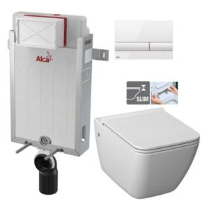 ALCAPLAST Renovmodul předstěnový instalační systém s bílým tlačítkem M1710 + WC JIKA PURE + SEDÁTKO DURAPLAST AM115/1000 M1710 PU1