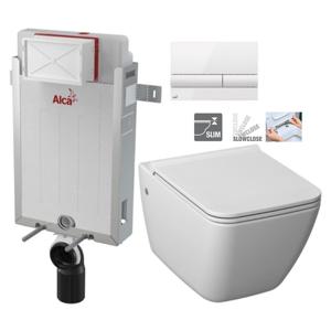 ALCAPLAST Renovmodul předstěnový instalační systém s bílým tlačítkem M1710 + WC JIKA PURE + SEDÁTKO SLOWCLOSE AM115/1000 M1710 PU2