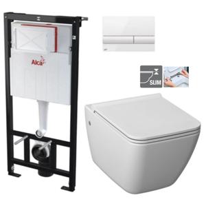 ALCAPLAST Sádromodul předstěnový instalační systém s bílým tlačítkem M1710 + WC JIKA PURE + SEDÁTKO DURAPLAST AM101/1120 M1710 PU1
