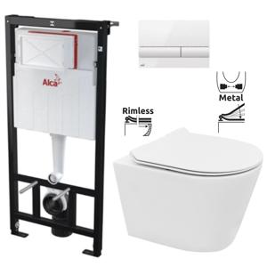 ALCAPLAST Sádromodul předstěnový instalační systém s bílým tlačítkem M1710 + WC REA TOMAS RIMFLESS + SEDÁTKO AM101/1120 M1710 TO1