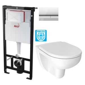 ALCAPLAST Sádromodul předstěnový instalační systém s chromovým tlačítkem M1721 + WC JIKA LYRA PLUS RIMLESS + SEDÁTKO DURAPLAST AM101/1120 M1721 LY1