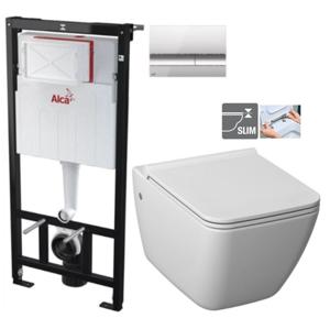 ALCAPLAST Sádromodul předstěnový instalační systém s chromovým tlačítkem M1721 + WC JIKA PURE + SEDÁTKO DURAPLAST AM101/1120 M1721 PU1