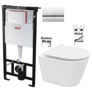 ALCAPLAST Sádromodul předstěnový instalační systém s chromovým tlačítkem M1721 + WC REA TOMAS RIMFLESS + SEDÁTKO AM101/1120 M1721 TO1