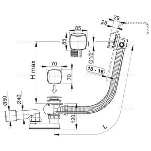 ALCAPLAST Sifon vanový napouštěcí 120cm chrom/kov pro silnostěnné vany A565KM3 120 A565KM3-120 A565KM3-120