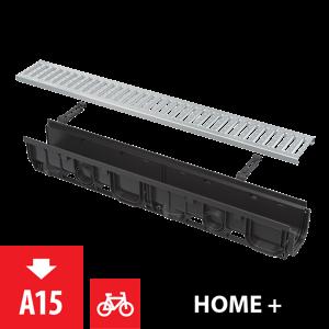 Alcaplast Venkovní žlab 1m 100 mm plastový rám a pozinkovaný rošt C-profil A15 AVZ102-R102