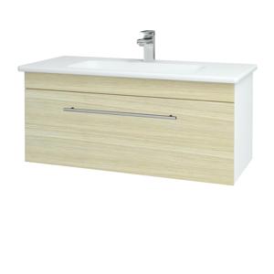 Dřevojas Koupelnová skříň ASTON SZZ 100 N01 Bílá lesk / Úchytka T02 / D04 Dub 131050B