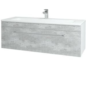 Dřevojas Koupelnová skříň ASTON SZZ 120 N01 Bílá lesk / Úchytka T03 / D01 Beton 131098C