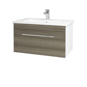 Dřevojas Koupelnová skříň ASTON SZZ 80 N01 Bílá lesk / Úchytka T04 / D03 Cafe 130978E