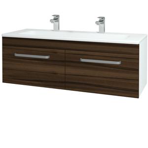 Dřevojas Koupelnová skříň ASTON SZZ2 120 N01 Bílá lesk / Úchytka T01 / D06 Ořech 131210AU