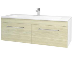 Dřevojas Koupelnová skříň ASTON SZZ2 120 N01 Bílá lesk / Úchytka T04 / D04 Dub 131197E
