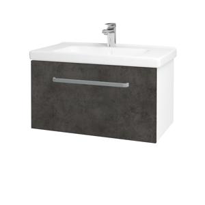 Dřevojas Koupelnová skříň BIG INN SZZ 80 N01 Bílá lesk / Úchytka T01 / D16 Beton tmavý 201258A