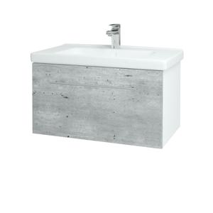 Dřevojas Koupelnová skříň BIG INN SZZ 80 N01 Bílá lesk / Úchytka T02 / D01 Beton 127879B