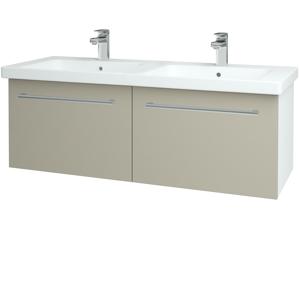 Dřevojas Koupelnová skříň BIG INN SZZ2 125 N01 Bílá lesk / Úchytka T03 / L04 Béžová vysoký lesk 149833C