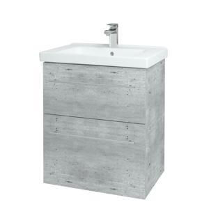 Dřevojas Koupelnová skříň BIG INN SZZ2 65 D01 Beton / Úchytka T02 / D01 Beton 121679B