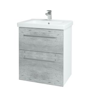 Dřevojas Koupelnová skříň BIG INN SZZ2 65 N01 Bílá lesk / Úchytka T01 / D01 Beton 121525A