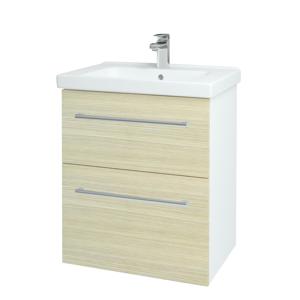 Dřevojas Koupelnová skříň BIG INN SZZ2 65 N01 Bílá lesk / Úchytka T03 / D04 Dub 132835C
