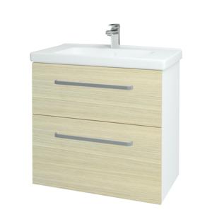 Dřevojas Koupelnová skříň BIG INN SZZ2 80 N01 Bílá lesk / Úchytka T01 / D04 Dub 132897A