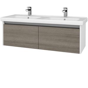 Dřevojas Koupelnová skříň BONO SZZ2 125 (umyvadlo Harmonia) N01 Bílá lesk / D03 Cafe 204280