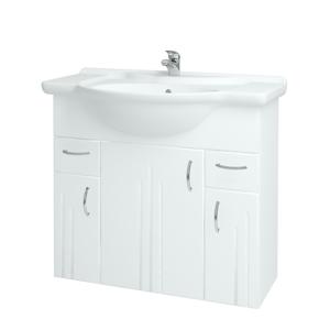 Dřevojas Koupelnová skříň DREJA SZD3Z2 86 N01 Bílá lesk / L01 Bílá vysoký lesk 12031